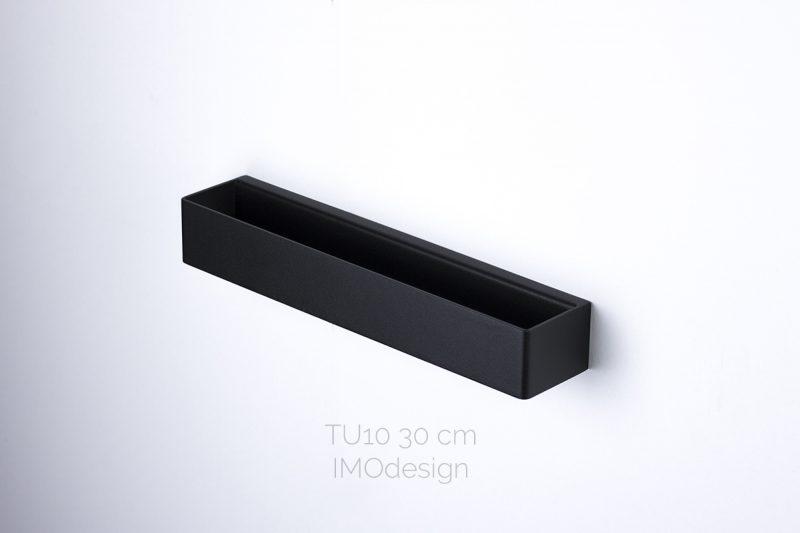 czarny reling na ręczniki TU10 30cm IMOdesign