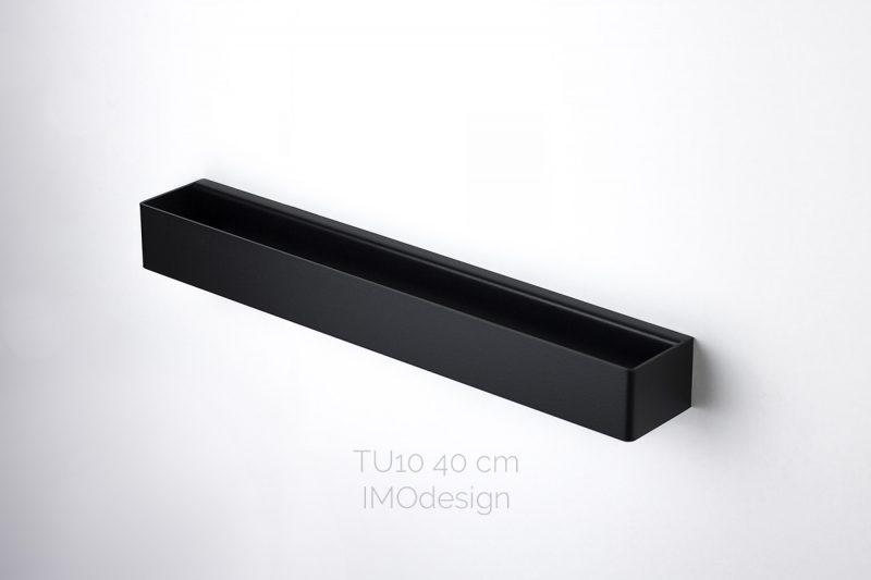 czarny nowoczesny reling na ręczniki TU10 40 cm