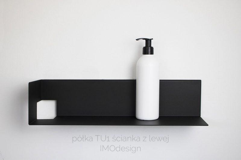 czarna nowoczesna półka łazienkowa TU1 IMOdesign
