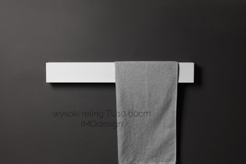 biały wysoki reling na ręczniki TU10 60cm